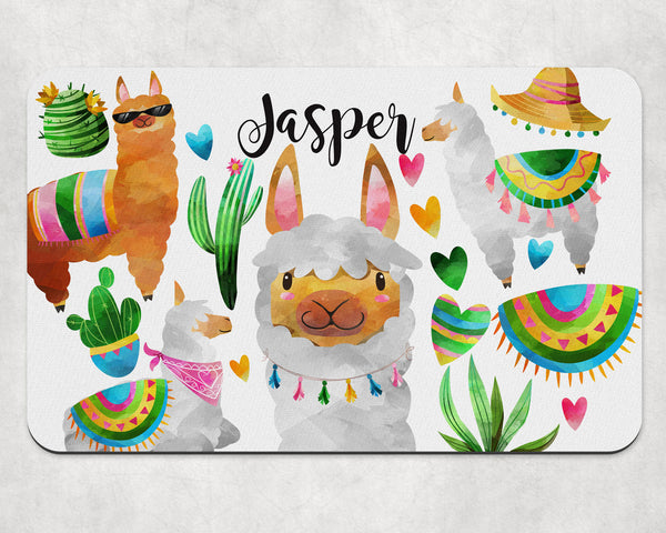 Llama Custom Pet Food Placemat