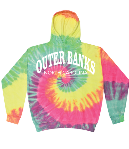 Outer Banks North Carolina Minty Rainbow Tie Dye Hoodie