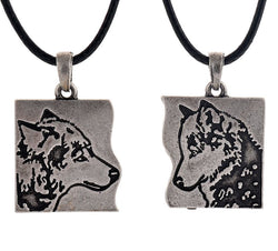 Geri & Freki Wolf Couple Pendants