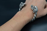 viking boar head arm ring antique silver on wrist