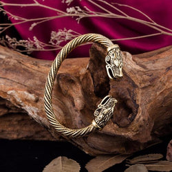 viking arm ring bracelet wolf fenrir head antique gold