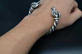 viking dragon arm ring antique silver on wrist
