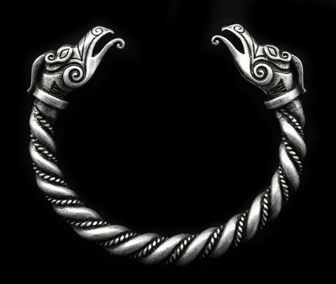 viking dragon arm ring antique silver