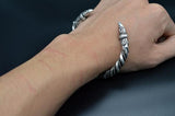 viking raven arm ring bracelet antique silver on wrist
