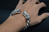 viking wolf arm ring bracelet antique silver on wrist