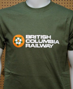 British Columbia Railway Green graphic logo with Dogwood Casual Ts Apparel and Souvenirs