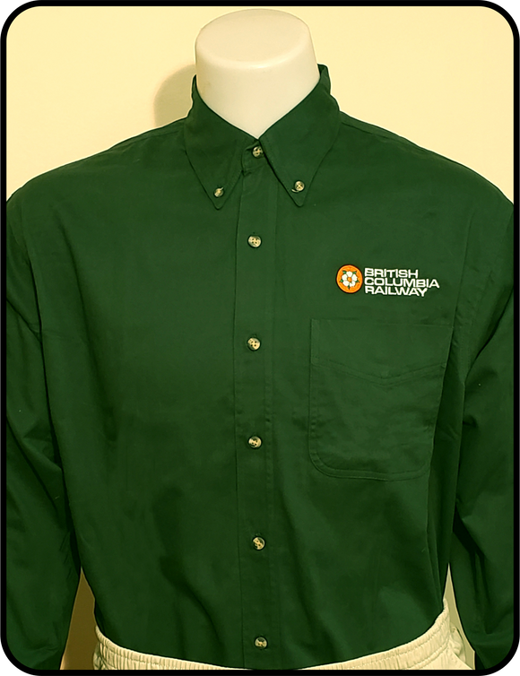 CN - BCR Dogwood Logo British Columbia Railway Forest Green Work Shirt