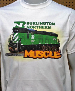 Burlington Northern: EMD SD-9 Merger Muscle Graphic Logo Casual Ts Apparel and Souvenirs