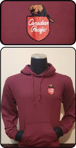 Canadian Pacific 1960's Beaver Shield Hoodie Maroon Casual Ts Apparel and Souvenirs