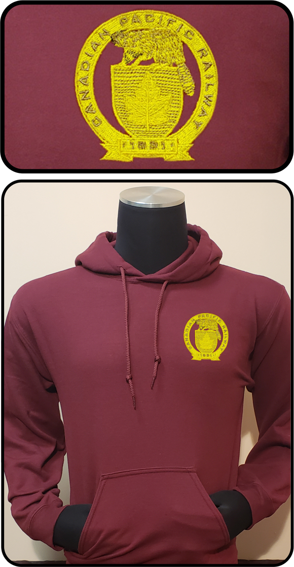 Canadian Pacific 1881 Beaver Shield Hoodie Maroon Casual Ts Apparel and Souvenirs