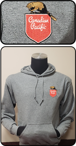 Canadian Pacific 1950's Beaver Shield Hoodie Gray Casual Ts Apparel and Souvenirs