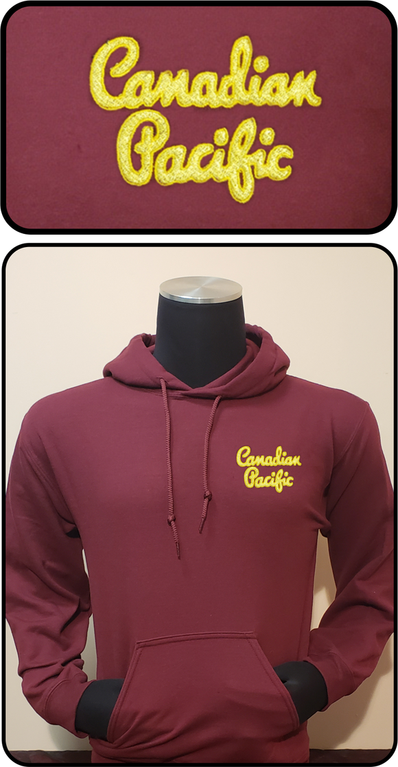 Canadian Pacific 1950's Script Logo Hoodie Maroon Casual Ts Apparel and Souvenirs