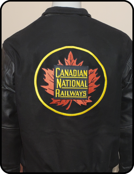 Canadian National Round Herald Melton and Leather Jacket Casual Ts Apparel and Souvenirs