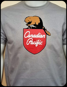 Canadian Pacific 1960's Beaver Shield Logo Gray Casual Ts Apparel and Souvenirs