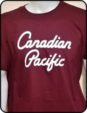 Canadian Pacific Script Maroon Graphic T-shirt Casual Ts Apparel and Souvenirs