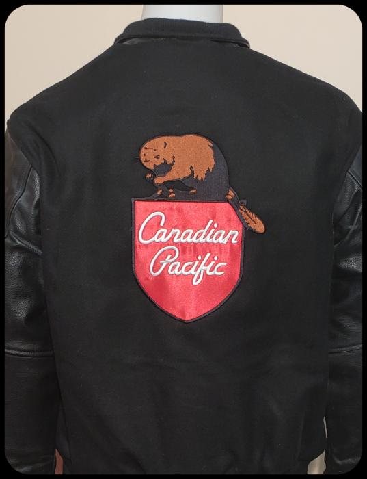 Canadian Pacific 1960's Beaver Shield Melton and Leather Jacket back view Casual Ts Apparel and Souvenirs
