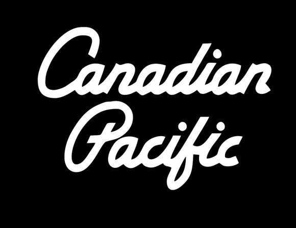 Canadian Pacific Script Black graphic logo T-shirt Casual Ts Apparel and Souvenirs