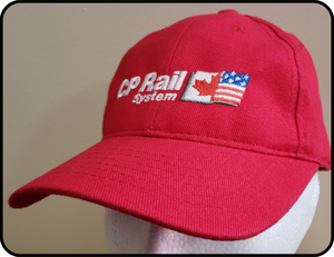 Canadian Pacific CP Rail System Logo AJM Basic Red Cap Casual Ts Apparel and Souvenirs