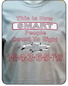 Chevrolet Smart people count to Eight Logo Casual Ts Apparel and Souvenirs