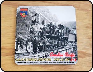 Table Coaster Canadian Pacific 2-8-0 Consolidation In Field BC Casual Ts Apparel and Souvenirs