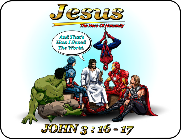 Inspirational Jesus The Hero Of Humanity Graphic T-shirt Casual Ts Apparel and Souvenirs