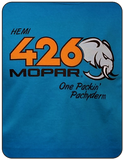 HEMI 426 Mopar One Packin' Pachyderm Blue T-shirt Casual Ts Apparel and Souvenirs