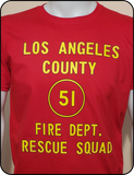 Pop Culture - EMERGENCY Squad 51 Door Art Graphic Red T-Shirt Casual Ts Apparel and Souvenirs