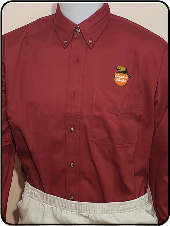 Canadian Pacific 1960's Beaver Shield Maroon Work Shirt