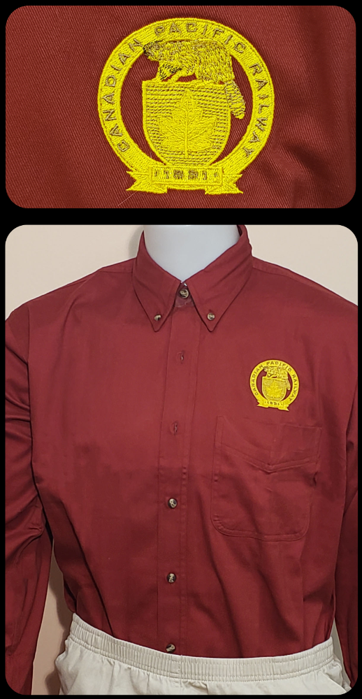 Canadian Pacific 1881 Golden Beaver Shield Maroon Work Shirt Casual Ts Apparel and Souvenirs