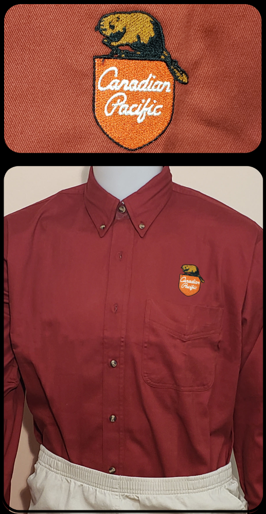 Canadian Pacific 1960's Beaver Shield Maroon Work Shirt Casual Ts Apparel and Souvenirs