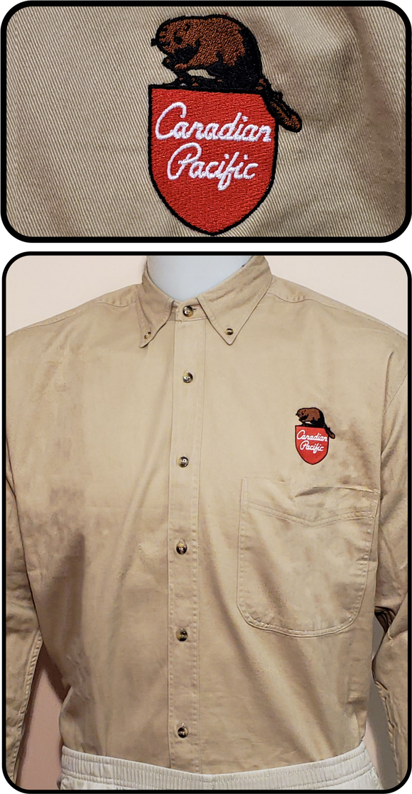 Canadian Pacific 1960's Beaver Shield Tan Work Shirt Casual Ts Apparel and Souvenirs