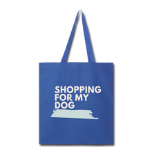 Shopping for My Dog Canvas Tote Bag - royal blue