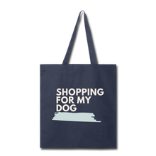 Shopping for My Dog Canvas Tote Bag - navy