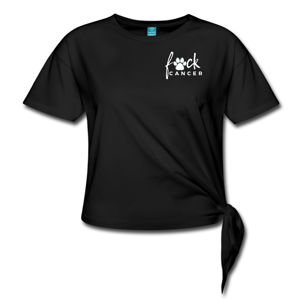 F*ck Cancer White Paw Women's Knotted T-Shirt - black