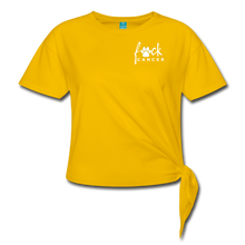 F*ck Cancer White Paw Women's Knotted T-Shirt - sun yellow