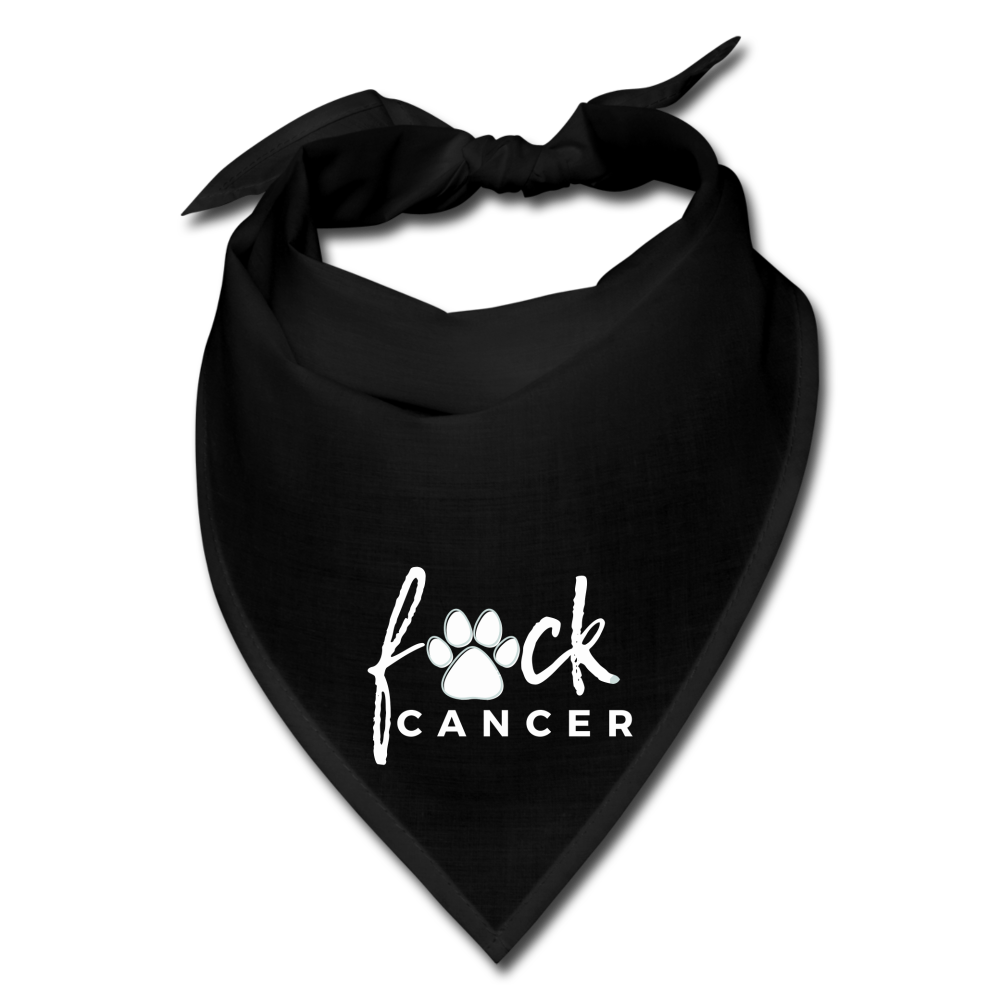 F*ck Cancer White Paw Dog Bandana - black