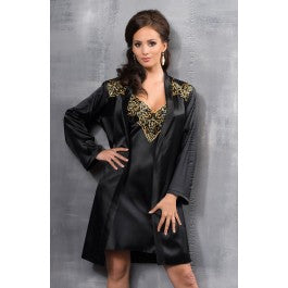 Irall Luna Dressing Gown Black/Gold