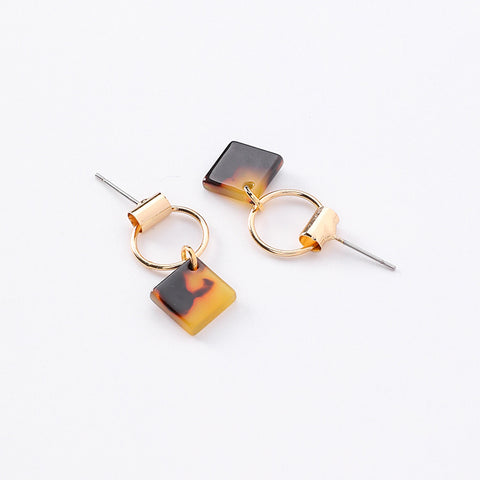 Koko and Lola - Gold Hoop Tortoise Celluloid Geo Earrings