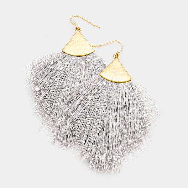 Koko and Lola - Gray and Gold Fringe Tassel Earrings