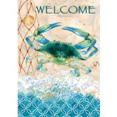 Blue Crab and Net Flag and Mat - Simple Pleasures ~ Bountiful Treasures