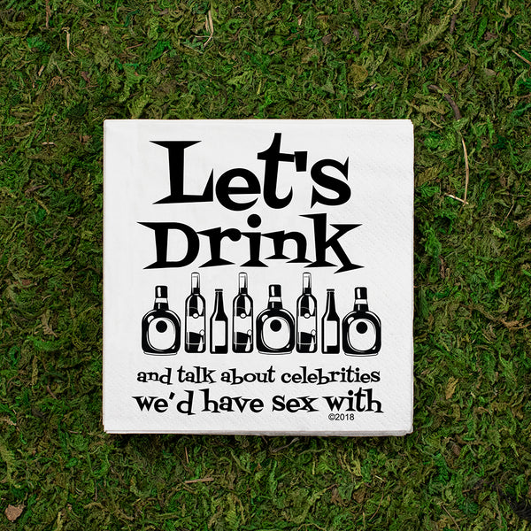 Twisted Wares - Let`s Drink And Talk COCKTAIL NAPKIN - Simple Pleasures ~ Bountiful Treasures