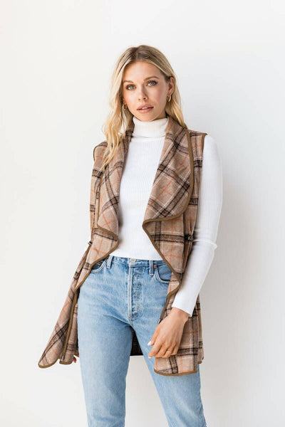 Jen & Co. - VT1015 Victoria Waterfall Vest in Plaid