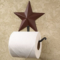 Wrought Iron and Burgundy Star Toilet Paper Holder - Simple Pleasures ~ Bountiful Treasures