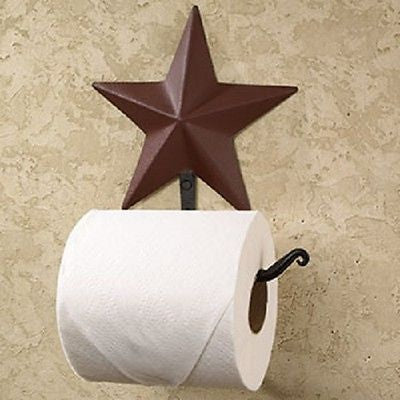 Wrought Iron and Burgundy Star Toilet Paper Holder