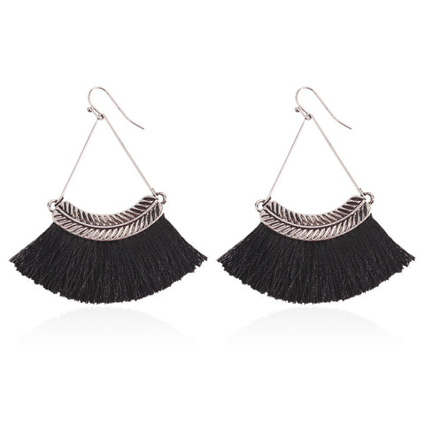 Koko and Lola - Black Silver Leaf Tassel Earrings