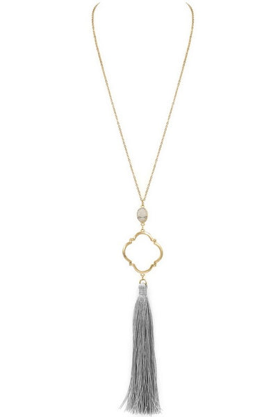 Koko and Lola - Gray Tassel Pendant Necklace with Stone Accent - Simple Pleasures ~ Bountiful Treasures