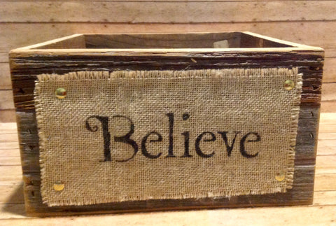 Barn Wood Believe Box - Simple Pleasures ~ Bountiful Treasures