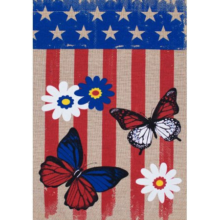 Burlap Patriotic Butterfly Flag