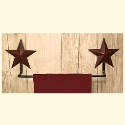 Wrought Iron and Burgundy Star Towel Bar - Simple Pleasures ~ Bountiful Treasures