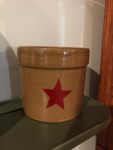 Mustard Crock with a Burgundy Star